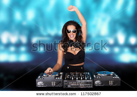stock-photo-jubilant-sexy-female-disc-jockey-standing-behind-her-mixing-deck-laughing-and-holding-up-her-hand-117502867